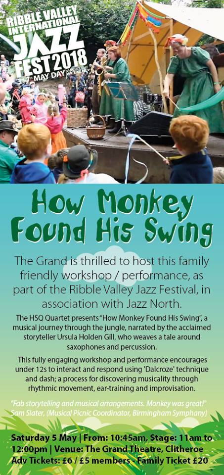 HSQ to perform ' How Monkey Found His Swing' at the Ribble Valley Jazz Festival